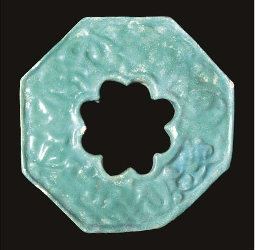 AN OCTAGONAL TURQUOISE GLAZED