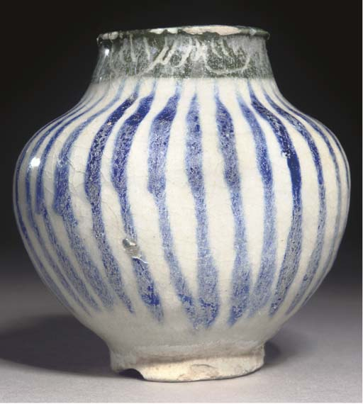 A SMALL BLUE AND WHITE STRIPED