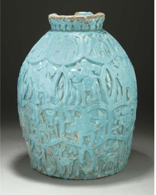 A large Qajar turquoise glazed