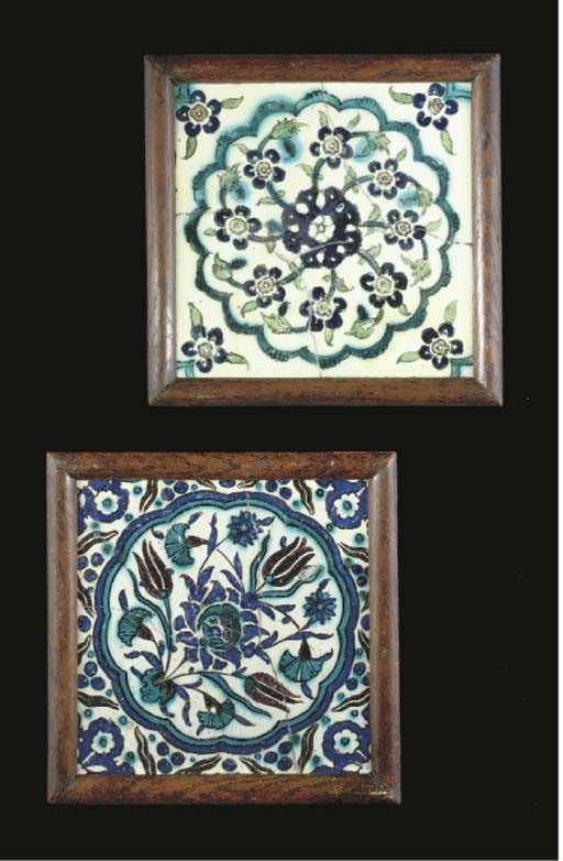 Two framed Damascus pottery ti