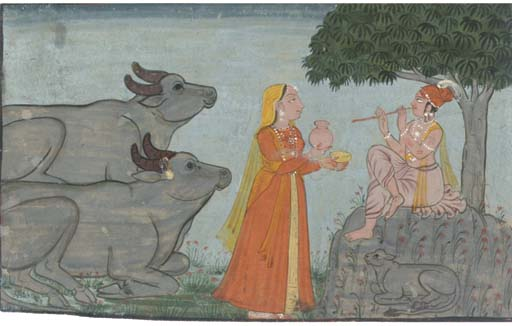 KRISHNA PLAYING THE FLUTE TO R