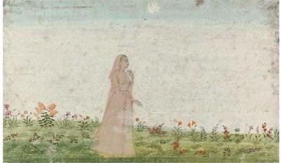 A LADY IN A MEADOW, PAHARI, CI