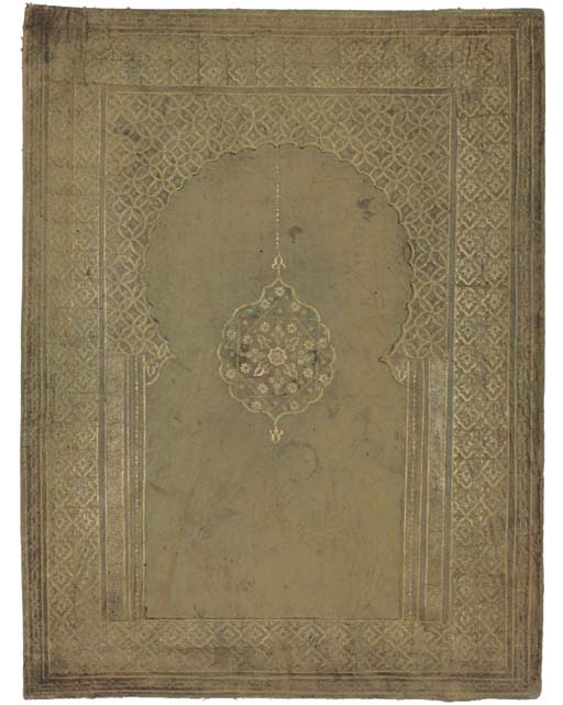 A GOLD-TOOLED GREEN LEATHER FO