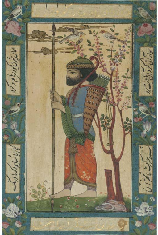 THREE PERSIAN MINIATURES, QAJA