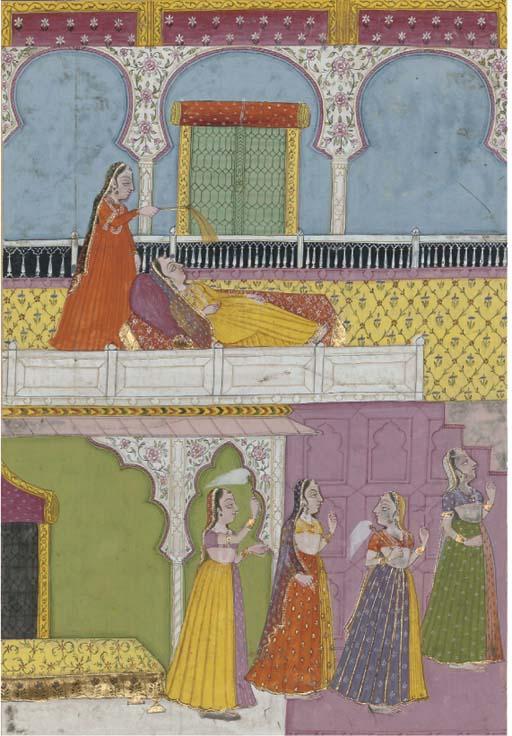 A LADY LYING ON A VERANDA, RAJ