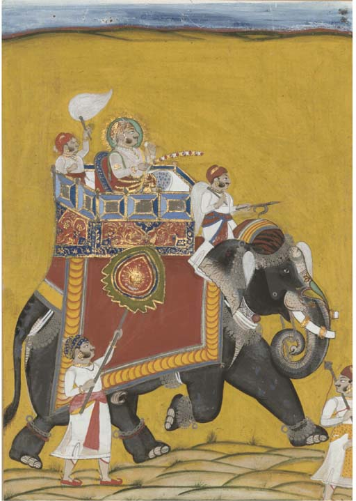 A MAHARAJA MOUNTED ON AN ELEPH