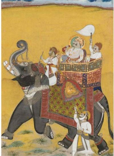 A MAHARAJA SEATED ON AN ELEPHA