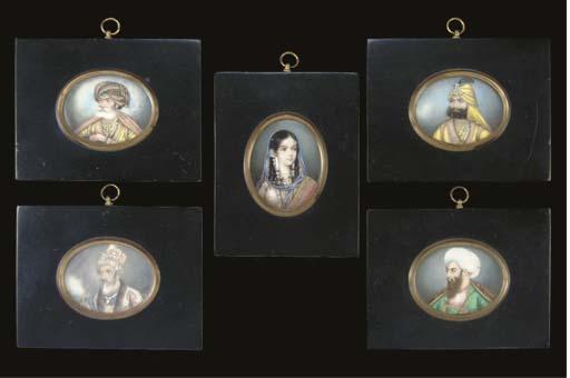Five portrait miniatures, Delh