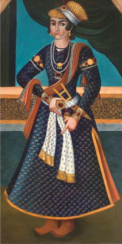 A large portrait of a Qajar Pr