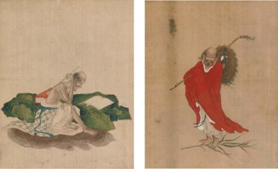 Five paintings on silk from a