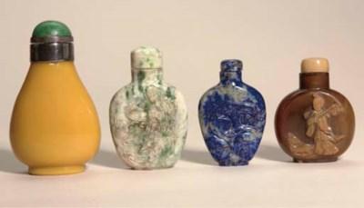 Three hardstone snuff bottles,