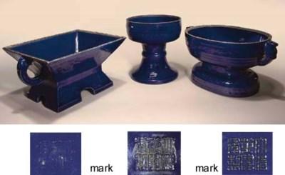 Three blue-glazed altar vessel