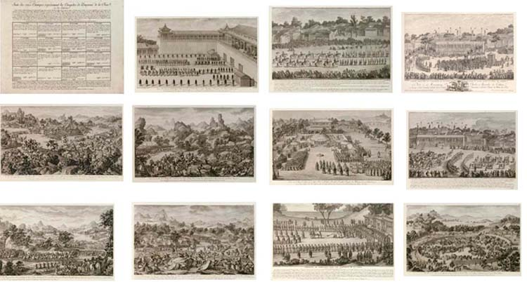 Isidore-Stanislas Helman (1743-1806?) An album of twenty engravings, the first sixteen after Castiglione, Sichelbarth, Attiret and Damascene to commemorate the Emperor Qianlong's victory in Central Asia (1755-59, with an additional four by Helman produced in 1786 -- 9¼in. x 16¼in. (23.5cm. x 41.2cm.), with printed inscriptions 10¾in. x 17in. (27.3cm. x 43.2cm.), mounted as a bound album