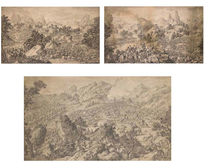 Three engravings recording the Emperor Qianlong's military campaigns in Central Asia, 1755-59 -- 20¼in. x 34¾in. (51.4cm. x 88.3cm.), 1765-74