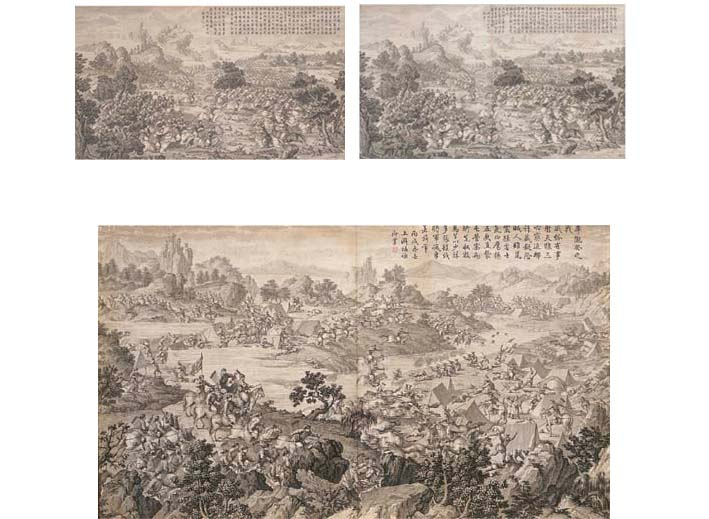Three engravings from the series The Pacification of the Hui Muslim Tribe -- 19¾in. x 34¾in. (50.1cm. x 88.3cm.), 1765-74