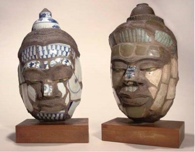 Two stoneware and porcelain he