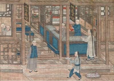 A painting on silk, 19th Centu