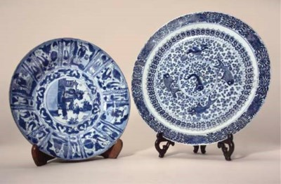 A blue and white kraak porsele