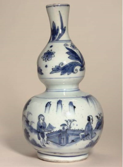 A blue and white double gourd
