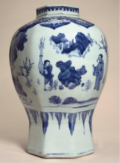 A blue and white octagonal jar
