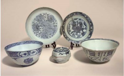 A blue and white bowl, Ming Dy