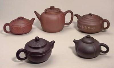 Five Yixing teapots, 18th/19th