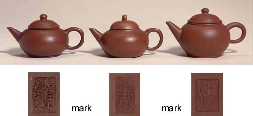 Three miniature Yixing teapots