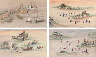 A set of ten watercolours, 19t