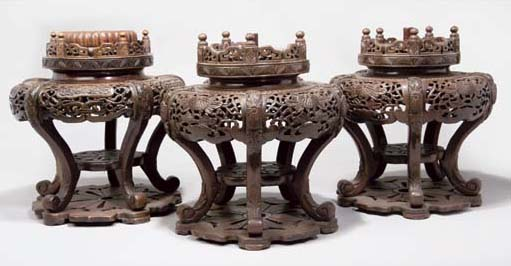 A Pair of Japanese wooden tier
