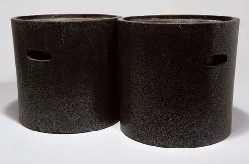 A pair of Japanese black lacqu