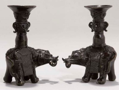 A Pair of Chinese bronze eleph