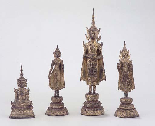 Four Thai gilt lacquered Buddh