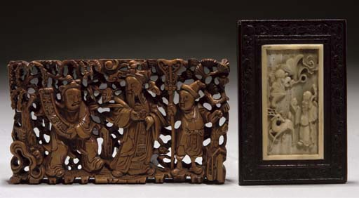 A Chinese carved ivory plaque