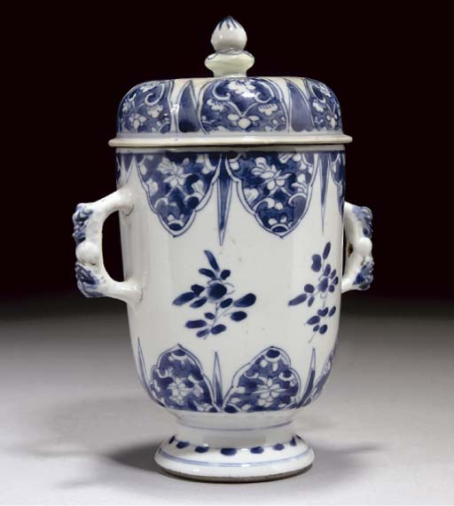 A Chinese blue and white two h