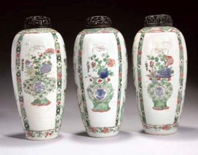 Three famille verte ovoid vase