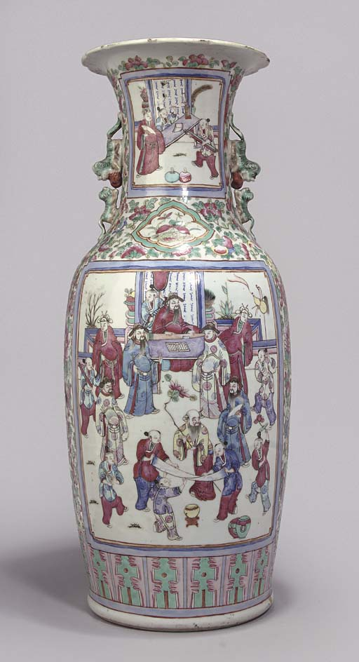 A Cantonese baluster vase, 19t