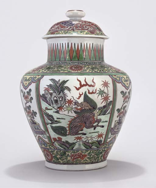 A Chinese Famille verte jar an