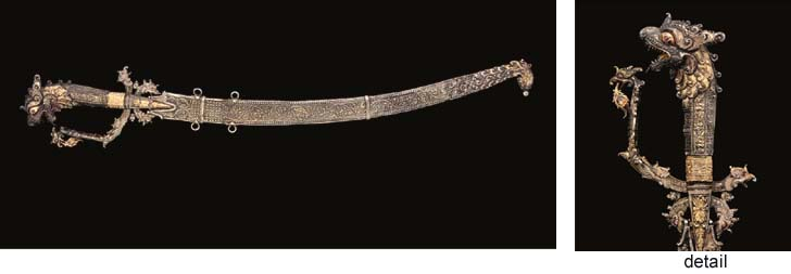 A SILVER GILT SHORT SWORD, SRI