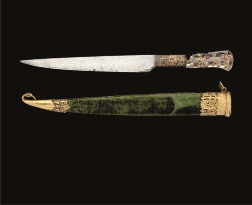 A STEEL DAGGER WITH ROCK CRYST