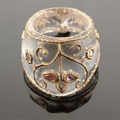 A Mughal style rock crystal ar