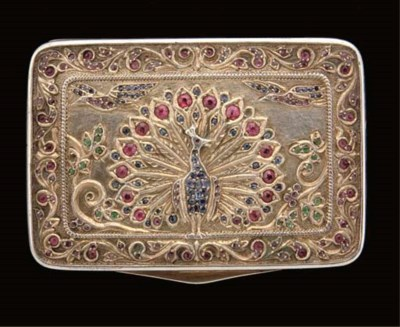 A GEM SET GILT METAL BOX, INDI