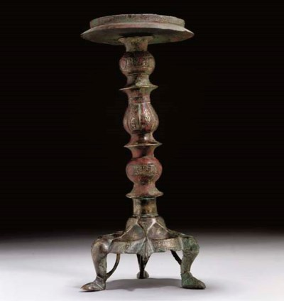A BRONZE COMPOSITE LAMPSTAND,