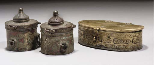 A PAIR OF SMALL BRONZE INKWELL