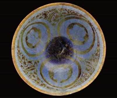A Kashan lustre and lavender-g