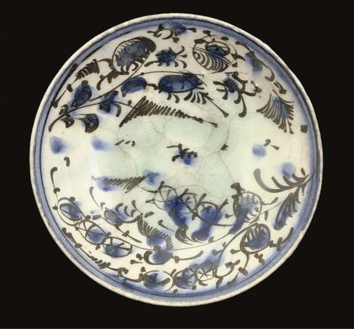 A QAJAR BLUE AND BLACK BOWL, I