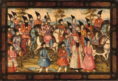 A LACQUER PANEL WITH NASIR AL-