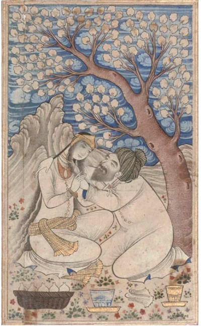 AN AMOROUS COUPLE IN A LANDSCA