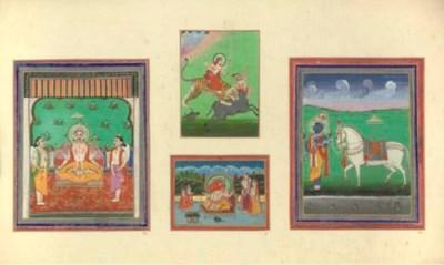FOUR INDIAN MINIATURES MOUNTED