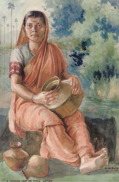 TWO WATERCOLOURS OF INDIAN WOM