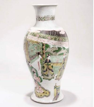 A Famille verte baluster vase,